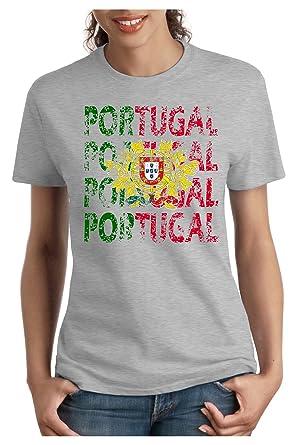 OM3 - PORTUGAL - Damen T-Shirt tailliert - LISBOA EM 2016 FRANKREICH FRANCE  FUSSBALL FANSHIRT SOCCER SPORT TRIKOT EUROPAMEISTER, S - XXL: Amazon.de: ...