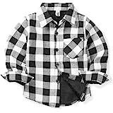 Aeslech Camisa de tela escocesa con forro polar, manga larga para niños pequeños