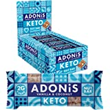Adonis Low Sugar Nut Bar - Barritas de Coco Crujiente Sabor a Vainillia | 100% Natural, Baja en Carbohidratos, Sin Gluten, Ve