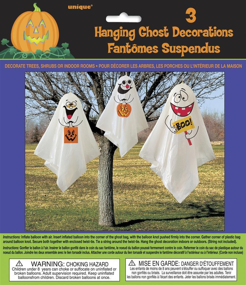ghost halloween hanging decorations pack of 3 amazoncouk toys games - Non Scary Halloween Decorations