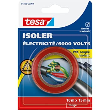 Tesa 56163-00003-00 Isoler Electricité / 6000 Volts PVC Souple Isolant 10 m x 15 mm