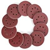 WORKPRO 150 st slipskivor, 125 mm/5-tums sandpappersset, krok och ögla, 8 hål, 60/80/100/120/150/180/240/320/400/600 korn bla