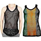 Itzu 100% Cotton Rasta Striped String Vest Mesh Fishnet Fitted 2 Pack