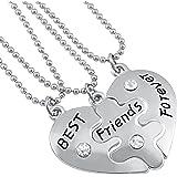 Veuer, collana dell'amicizia con 3 collane Best Friends Forever a forma di cuore puzzle, regalo di Natale per la migliore ami
