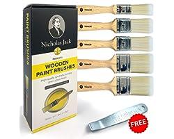 Nicholas Jack Professional Paint Brushes Decorating Set 5 Pure Synthetic Paint Brush Set for Interior & Exterior Decorating