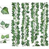 AIOR 12 Pcs Lierre Artificielle Plantes Guirlande Vigne, 200cm Exterieur Faux Lierre Artificiel Grimpant Fausse Plante Deco D