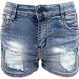Laphilo Pantaloncini Corti Jeans Donna con Decorazioni e Strappi (cod. V851)