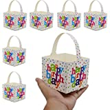 INFInxt 24 Pcs Happy Birthday Paper Gift Bags for Small Gifts and Chocolates Return Gift Party Favor Bags 10x10x9cm Multicolo