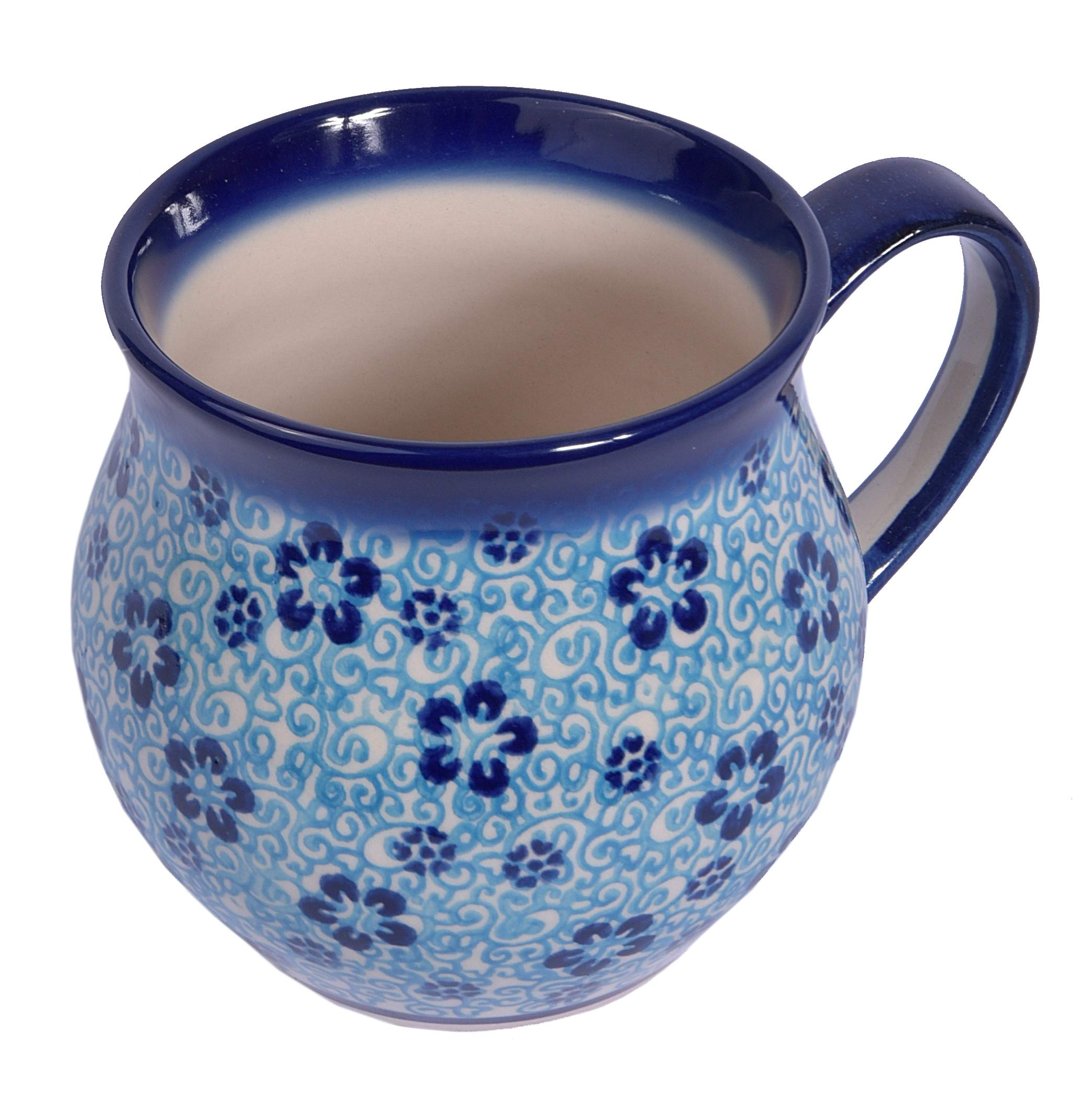 Traditional Polish Pottery, Handcrafted Ceramic Bubble Mug (350ml), Boleslawiec Style Pattern, Q.502.Flow