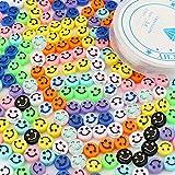 SAVITA 200 Stuks Smiley Kralen Kleurrijke Schattig Blij Gezicht Kralen met een Doorzichtige Elastische Draad voor Armbanden,