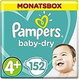 Pampers Baby-Dry Windeln, Gr.4+, 10-15kg, Monatsbox, 1er Pack (1 x 152 Stück)
