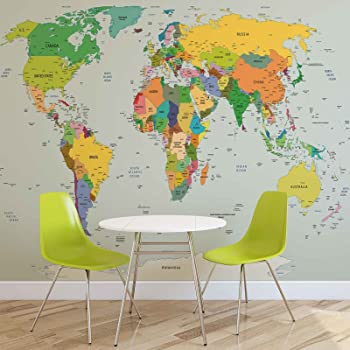 World map wallpaper mural amazon diy tools world map photo wallpaper wall mural easyinstall paper giant wall poster xl 208cm x 146cm easyinstall paper 2 pieces gumiabroncs Images