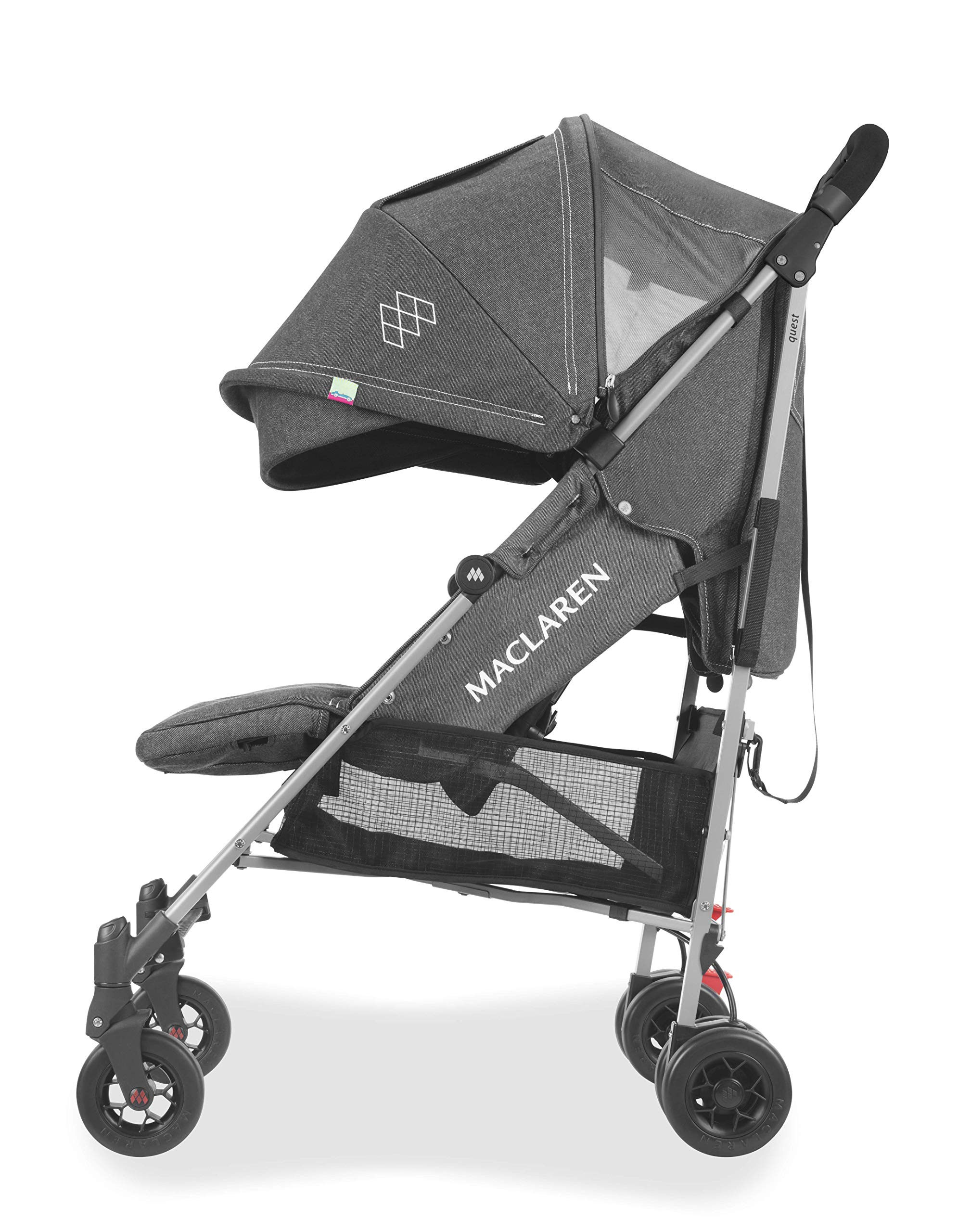 Maclaren Quest Arc Stroller- Ideal for Newborns up to 25kg with extendable UPF 50+/Waterproof Hood, Multi-Position seat and 4-Wheel Suspension. Maclaren Carrycot Compatible. Accessories in The Box Maclaren Lightweight and compact. ideal for newborns and children up to 25kg. you can do it all with one-hand- open, close, push and adjust the seat, footrest and front safety lock Comfy and perfect for travel. the quest arc's padded seat reclines into 4 positions and converts into a new-born safety system. coupled with ultra light flat-free eva tires and all wheel suspension Smart product for active parents. compatible with the maclaren carrycot. all maclaren strollers have waterproof/ upf 50+ hoods to protect from the elements and machine washable seats to keep tidy 12