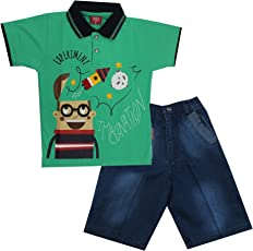 Kid's Care Summer Printed Cotton T-Shirt and Denim Half Pant/Capri Set for Boys(8094)
