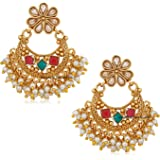 Om Jewells Women's Alloy Traditional Ethnic Wedding Jewellery Gold Plated Dangling Earrings with Red and Green Kundan Stones