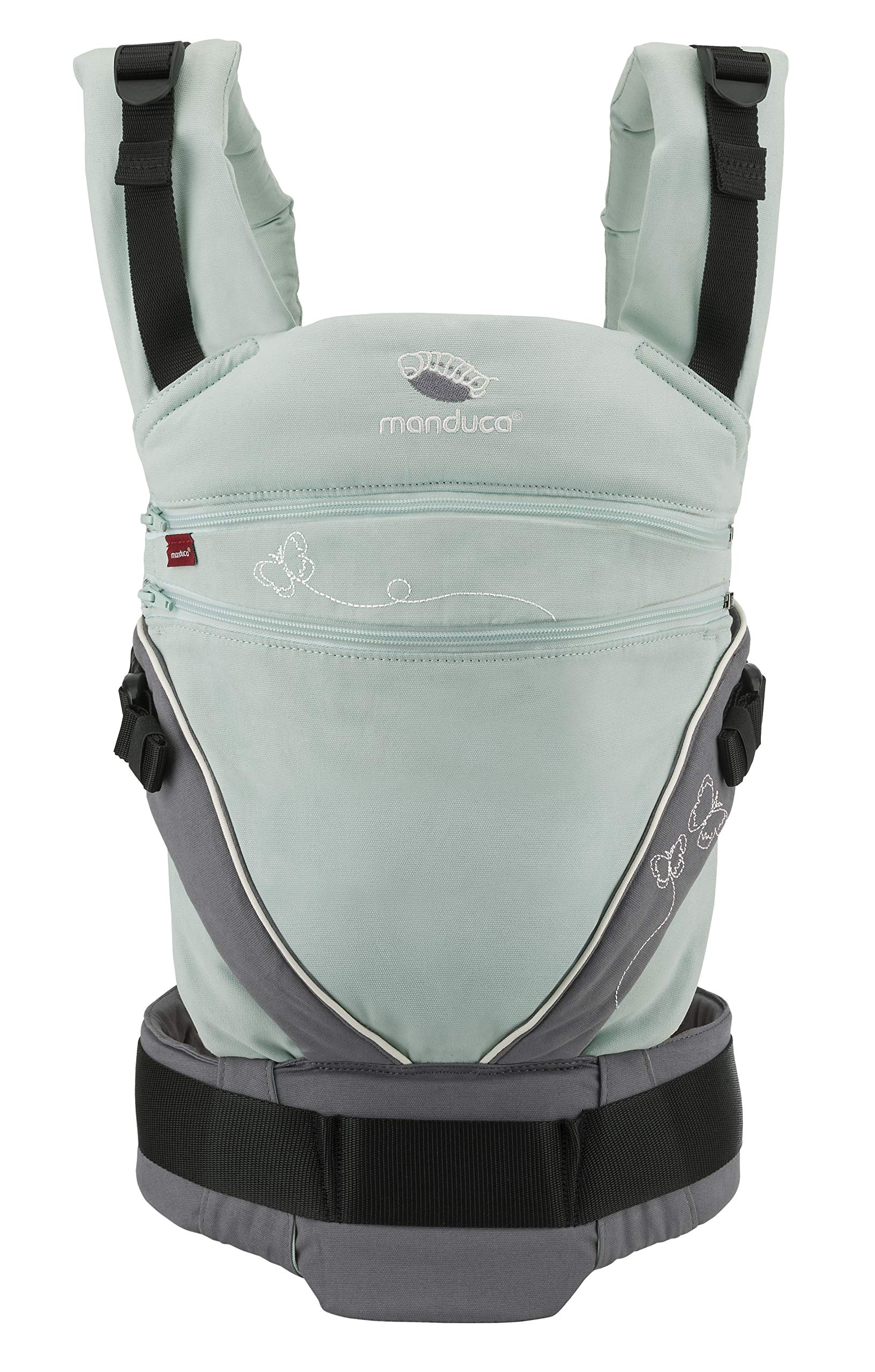 manduca XT Limited Edition > Butterfly Mint < Baby Carrier with Adjustable Seat, Front, Hip & Back Carry, Organic Cotton, No Accesories Needed, Designed for Babies from Newborn to Toddler (3.5-20kg) Manduca This baby carrier grows with your child from newborn to toddler: Infinitely adjustable seat (16 -50cm width) without buttons, knots, velcro or cord system. Innovative tension arches support baby's spine & hip Three height options thanks to the patented back extension & integrated Zip-in. Multifunctional headrest (classic hood or rolled up as neck support). No infant insert / accessories needed. One size Three carry positions (belly-to-belly, backpack and hip-seat). Not intended for forward facing. Supports the M-position 1