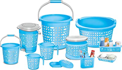 Milton Plastic Bathroom Bucket, Mug, Soap Case,Dustbin, Tooth Brush and Shampoo Holder (Blue, DHHFFHB155BLUE0004) - Set of 11