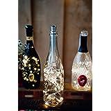 Hellum 522839 Flessenlamp met timer, warmwit, 3 x 40 leds, op batterijen, led-lichtketting voor flessen, doe-het-zelf, tafeld