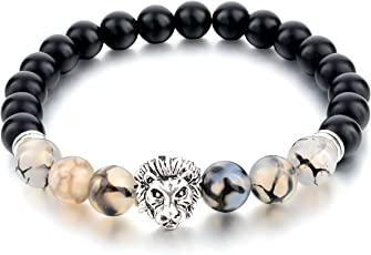 """Hot and Bold""""Certified"""" Natural Gem/Semi Precious Stones & Silver Plated Tiger Bracelet for Men/Women/Boys/Girls -Onyx & Tiger Eye Stone"""