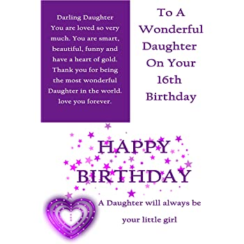 Daughter 16th Birthday Card With Removable Laminate