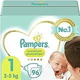 Pampers Maat 1 Luiers (2-5 kg), Premium Protection, 96 Stuks, Onze Nummer 1 Luier voor Zachtheid en Bescherming van de Gevoel