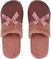 DRUNKEN Womens Striped Bowknot Winter Carpet Slippers