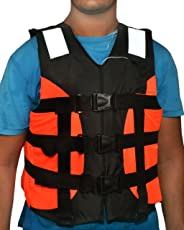 Ajmeri Adult Safety Life Jacket for Swimming Superlite Vest (Orange-Black) - Weight Capacity Upto 120 Kg