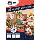 AVERY - Sachet de 60 étiquettes brillantes rondes, Personnalisables et imprimables, Impression jet d'encre,