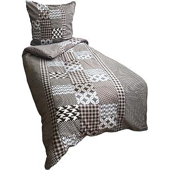 Leonado Vicenti Warme Thermofleece Bettwäsche 4 teilig 135x200 cm Grau Schwarz Kreise Winter Sparset mit Reißverschluss