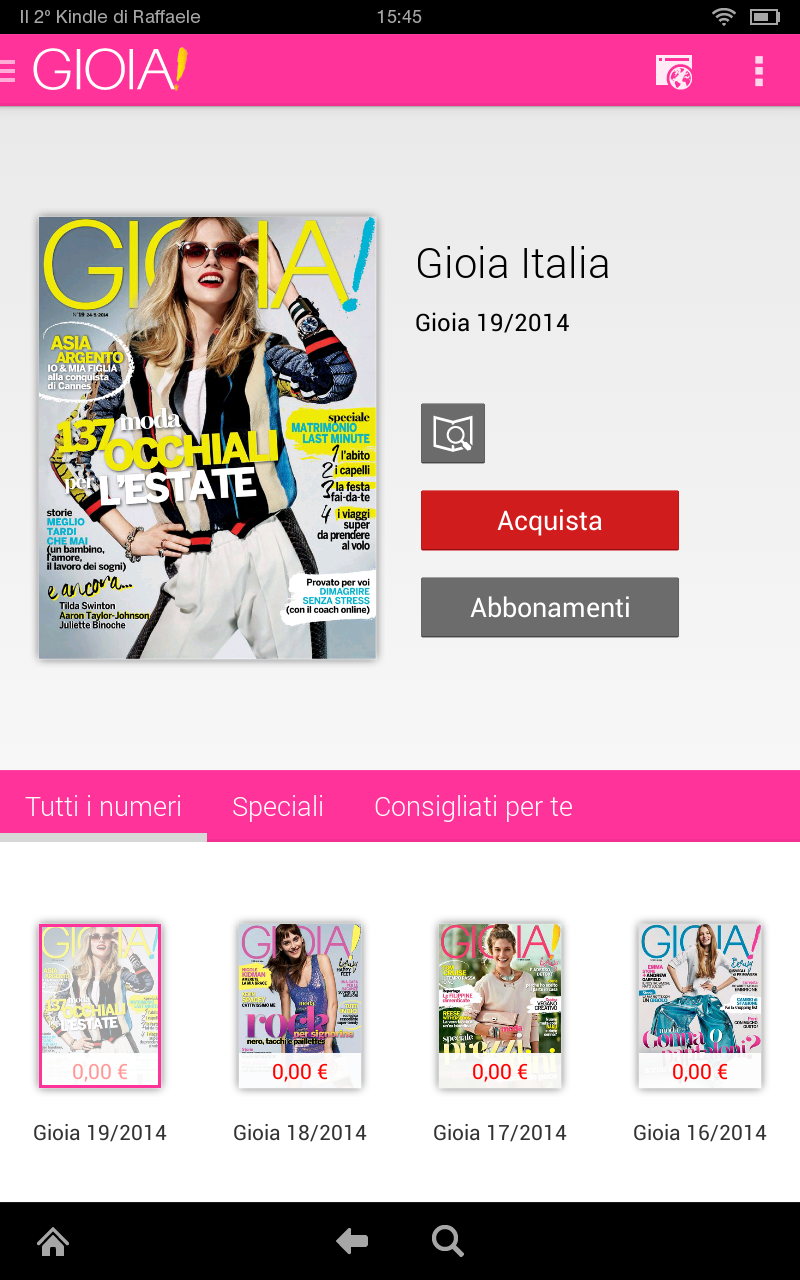 Gioia apps f r android for Hearst magazines italia stage