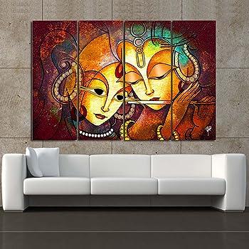 RAY DECOR Microfiber Multiple Sparkling Radha-Krishna Wall Painting(Multicolour, Standard)
