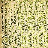 KASZOO 12 stycken konstgjorda växter, grönt blad murgröna vinranka med 80 LED-ljus, för bröllop fest trädgård festival dekora