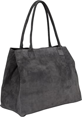 Ambra Moda WL810 - Borsa a mano da donna, in pelle scamosciata, shopper