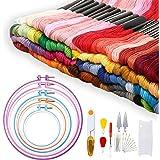 Adkwse Stickerei Set, Kreuzstich Set mit 100 Farbfäden,5 Stück Stickrahmen und 30 Stück Nadeln Set etc. (02)