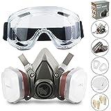 Facial Cubierta RS Antipolvo Reutilizable con Gafas, Guantes y 6 Filtros de Protección de Partículas para Pintura, Industria,