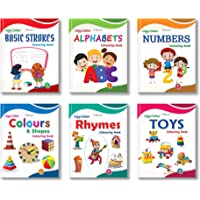 Colouring Books Collections for Early Learning by InIkao(english) : Pack of 6 Copy Coloring Books on alphabets, numbers, colors, shapes, toys and rhymes