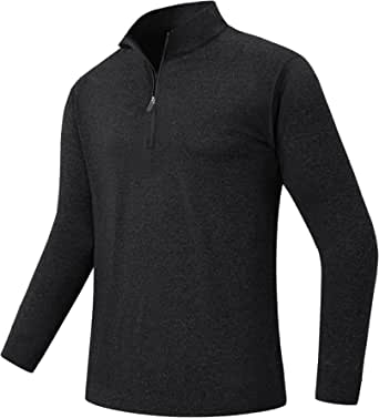 HOPATISEN 1/4 Zip Long Sleeve Base Layer Pullover Running Active Shirts for Men Sports Top for Warmup Training Workout Golf Shirt