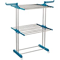 Amazon Brand - Solimo Stainless Steel & Plastic 2 Level Cloth Drying Stand with Wheels, Multicolour