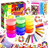 Fluffy Slime Kit de 12 Colores Crystal Slime con 10 Botellas de Brillantina para Niñas , Juguetes para Niños 4 Piezas de Jugu