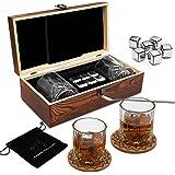 Juegos de regalo de whisky para hombres, juego de vasos de whisky con 6 cubitos de hielo reutilizables de acero inoxidable, 2
