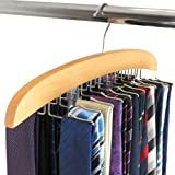 Hangerworld Single Wooden Tie Hanger Organiser Rack Holds 24 Ties Great Gift Idea!