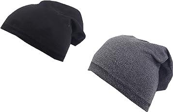 Krystle Unisex Cotton Beanie Cap(KRY-PO2-BLK-DGREY-BEANIE-BOY, Black and Dark Grey, Free Size) - Pack of 2