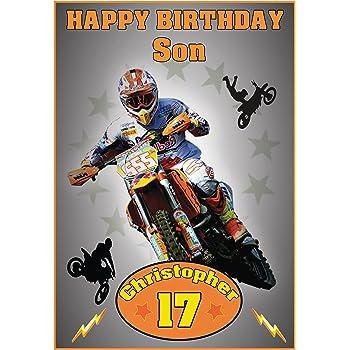 Personalised Motocross Birthday Card Amazing Amazon