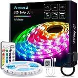 Anmossi Tiras LED 5m,Tiras de Luces LED RGB 5050 con Control Remoto de 24 Botones,20 Colores y 4 Modos,LED Tira para la Habit