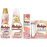 Robijn Rosé Chique Was & Geurpakket - Wasmiddel, Wasverzachter, Geurstokjes en Geurkaars - Voordeelverpakking