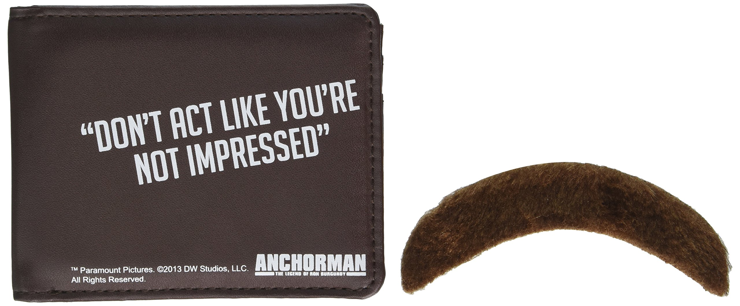 Anchorman Ron Burgundy wallet e baffi set Don' t ACT like you' re not Impressed