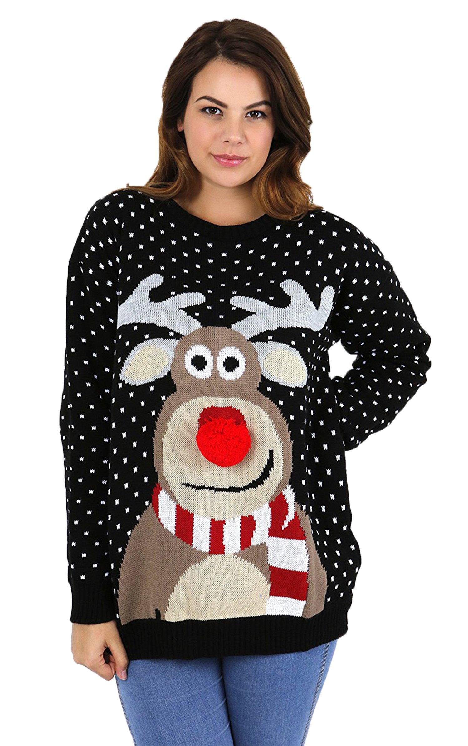 NAZ Fashion Suéter de Navidad, de Mujer Azul 3D Pom Pom