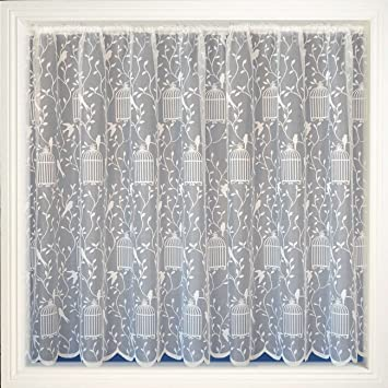 Kitchen Curtains bird kitchen curtains : White Bird Cage Net Curtain, Lace Curtains, Songbird, 40