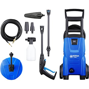 Nilfisk C 120 bar Pressure Washer with Patio Cleaner and Drain Cleaner, Blue
