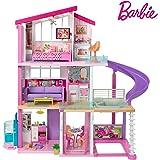 Barbie Mobilier Dreamhouse, maison de poupées à deux étages avec ascenseur, piscine, toboggan, cinq pièces et garage, jouet p